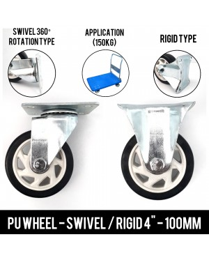 Super Heavy Duty 150kg Hand Truck 4Inch Swivel / Rigid PU Wheel Replacement
